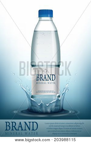 Mineral water realistic Bottle container mockup template. Transparent Drinking water Bottle with your brand for ads or magazine design. 3d vector illustration EPS 10.