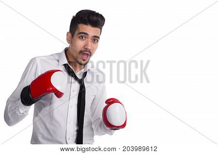 Office Manager In Shirt, Tie And Boxing Gloves