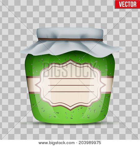 Canning Glass Jar with kiwi jam and closed cloth cover. Jar with label. Vector Illustration isolated on transparent background.