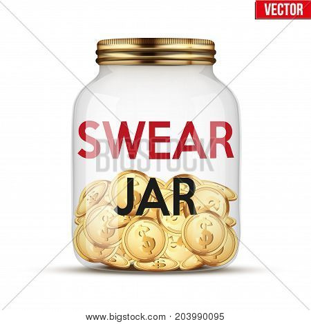 Swear Jar with money coins. Symbol of investing and saving money. Vector Illustration isolated on white background.