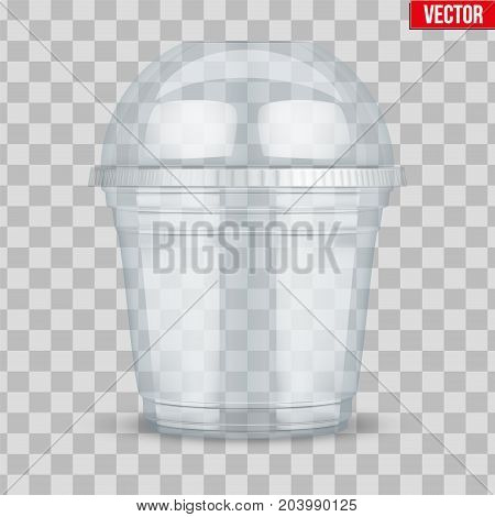 Clear plastic cup with sphere dome cap. For ice cream and dessert. Vector Illustration on transparent background.