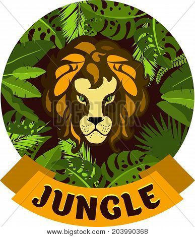 Vector illustration of round frame exotic plants and tropical leaves of the jungle showing the face of a Lion hunter emblem
