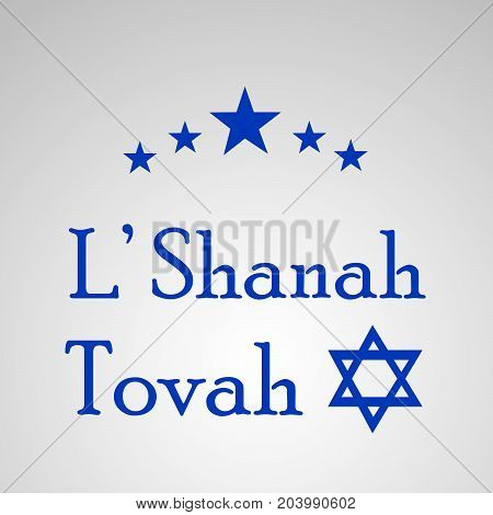 illustration of stars L' Shanah Tovah text on the occasion of Jewish New Year Shanah Tovah