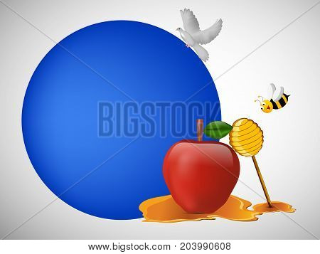 illustration of bee, pigeon, honey, apple on the occasion of Jewish New Year Shanah Tovah