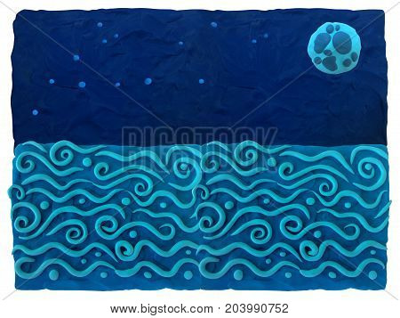 Sea, night sky - blie plasticine background.  Plasticine background can be used to advertise children's products, postcards and illustrations on the site or any printing products