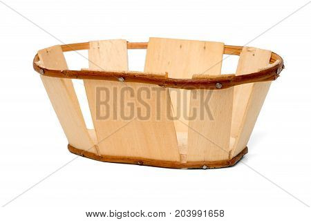 Wicker Basket Isolated on White Top View