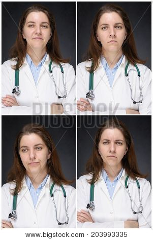 Portraits of a smiling sad bored and angry female doctor