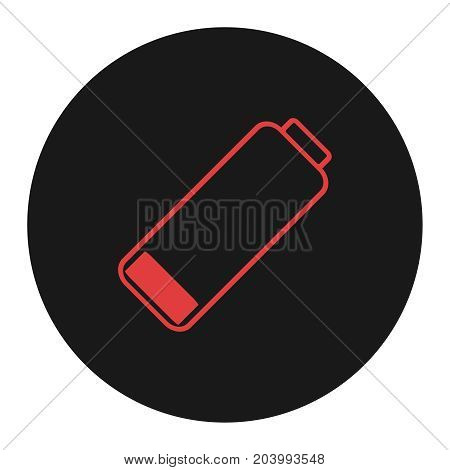 Smartphone or cell phone low battery icon. Low energy symbol. Flat vector illustration. Red and black