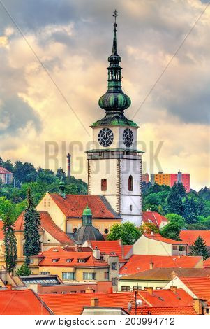 St. Martin church with its tower in Trebic - Moravia, Czech Republic
