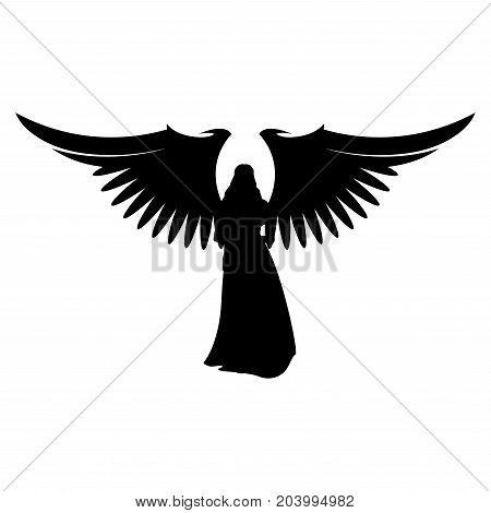 angel silhouette of an angel with wings on a white background.