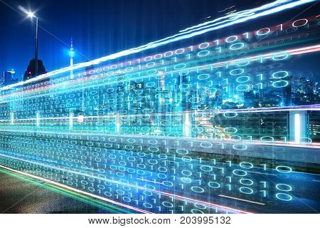 Highway flyover with binary code numbers on motion blurred asphalt road speed and faster digital matrix technology information concept .