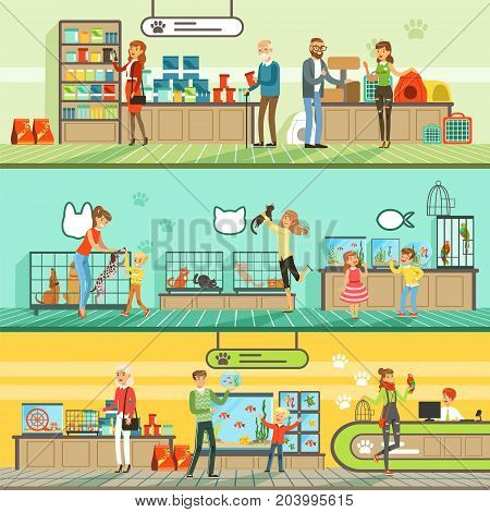 Pet shop horizontal banners set, people buying pets, aquarium fish, food for animals, cage, accessories for care colorful detailed vector Illustrations