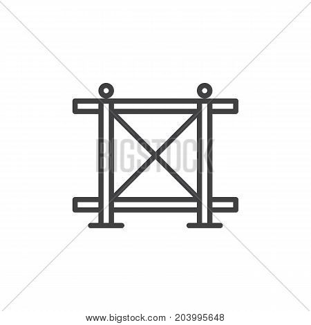 Fence line icon, outline vector sign, linear style pictogram isolated on white. Symbol, logo illustration. Editable stroke