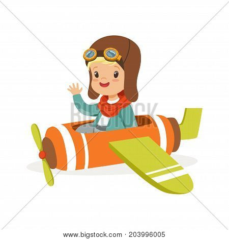 Cute little boy in pilot costume flying toy plane, kid dreaming of piloting the plane vector Illustration on a white background