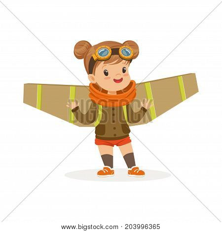 Cute little girl in pilot costume playing with wings, kid dreaming of piloting the plane vector Illustration on a white background