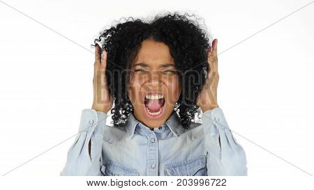 Black Woman Screaming  Isolated on White Background