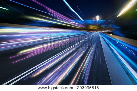 moving forward motion blur background ,night scene.