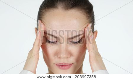 Close Up Of Upset Tense Woman Face, Headache