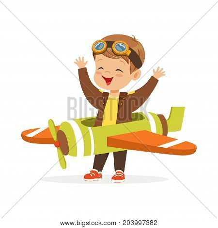Cute little boy in pilot costume playing toy plane, kid dreaming of piloting the plane vector Illustration on a white background