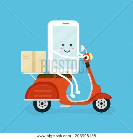 Cute smiling happy smartphone, mobile phone rides on scooter with parcel. Vector modern flat cartoon character illustration icon design. Speed delivery app concept, food courier