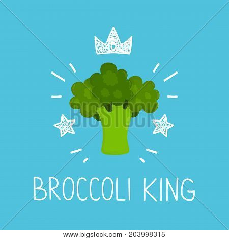 King broccoli. vector cartoon flat and doodle fun isolated illustration. Crown and stars icon. healthy food, love broccoli, vegan, vegetarian, card, poster, raw concept design