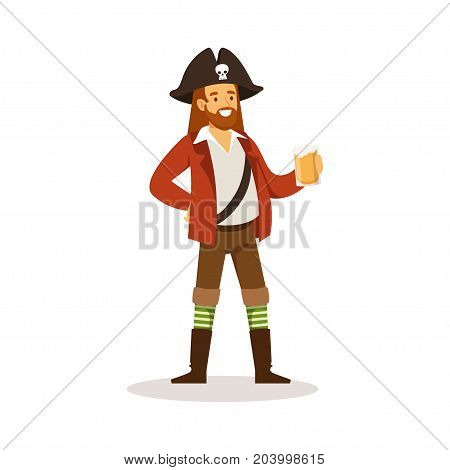 Pirate sailor character with wooden leg holding glass of rum vector Illustration on a white background
