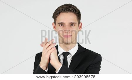 Applauding, Clapping Businessman, White Background