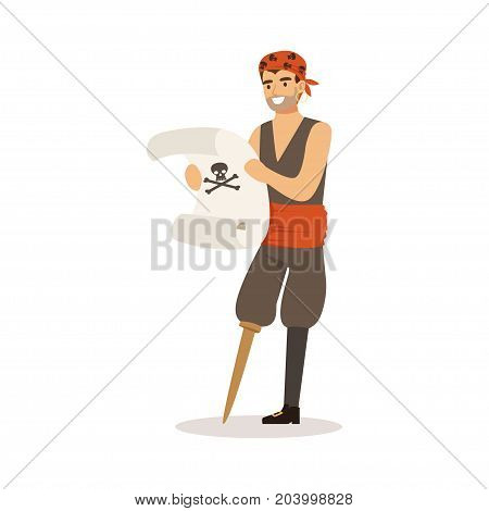 Brave pirate sailor character with wooden leg holding ancient scroll vector Illustration on a white background