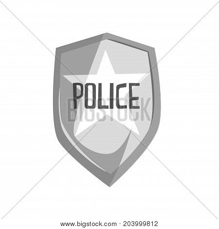 Silver police security badge cartoon vector Illustration on a white background