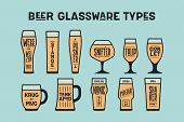 Beer glassware types. Poster or banner with different types of glass and mug for beer. Colorful graphic design for print, advertising. Poster for bar, pub, restaurant, beer theme. Vector Illustration poster