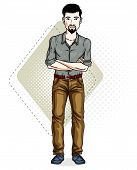 Handsome brunet young man standing. Vector illustration of man with beard and whiskers wearing stylish casual clothes. poster