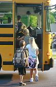 Group of Kids Getting on School Bus poster