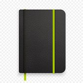 Realistic black notebook with green elastic band. Top view diary template. Vector notepad mockup. Closed diary with green bookmark on transparent background. poster