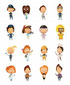 People professions cute cartoon icons set for kids with policeman astronaut doctor cameraman artist chef flat isolated vector illustration poster