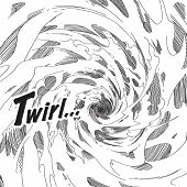 Vector Hand Drawn Comical Background - Whirlwind poster