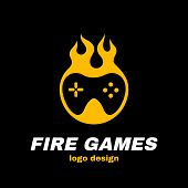 Fire games vector icon illustration template logo design. joystick in fire. Hot game, gamepad, gamer concept poster