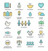 Sustainable Development Goals and Sustainable Living Implementation Concept Line Art Vector Icons. poster