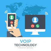 VoIP technology, voice over IP, IP telephony concept. Hand holding smartphone with outgoing call, computer with incoming call on screen. Internet calling banner. Modern flat design vector illustration poster