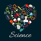 Heart made of science and research icons. We love science concept with microscope, atom, chemical laboratory test tube, DNA, gene, scientist, planet, magnet, telescope, book, formula and brain symbols poster