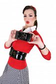 retro pin up woman holding vintage camera poster