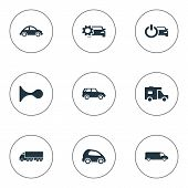 Elements Vehicle, Van, Renovation And Other Synonyms Beep, Gear And Klaxon.  Vector Illustration Set Of Simple Automobile Icons. poster