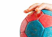 Close up of excess use of handball resin on player's fingers enhanced handball grip isolated on white poster