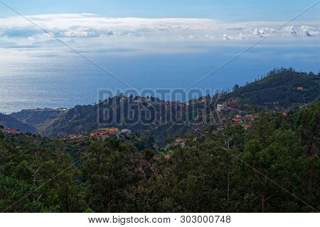 Aerial View At Madeira Coastline From Camacha. Portugal