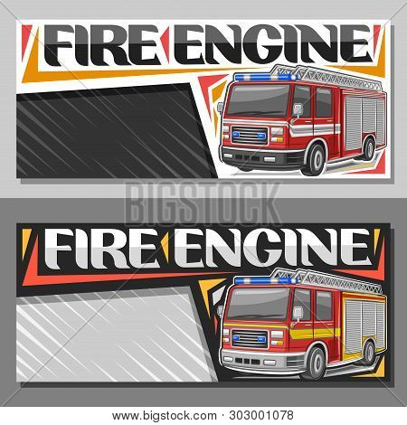 Vector Banners For Fire Engine With Copy Space, Leaflets With Red Modern Firetrucks With White And Y