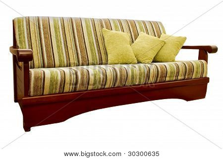 Striped green and brown sofa