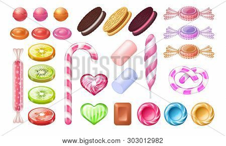 Candies And Lollipops. Sweet Jelly Chocolate Peppermint Candies Dessert And Cookies. Vector Realisti