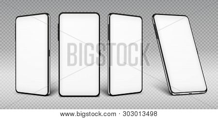 Realistic Smartphone Mockup. Cellphone Frame With Blank Display Isolated Templates, Phone Different