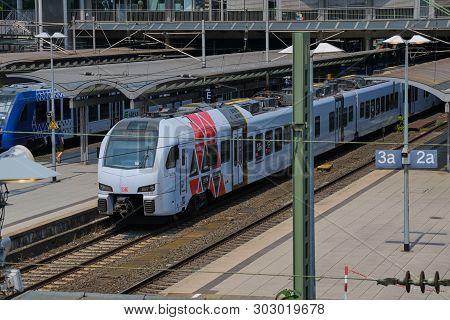 Mainz, Germany On May 24, 2019: Two Trains Waiting In Mainz Main Railway Station - Mainz Hauptbahnho