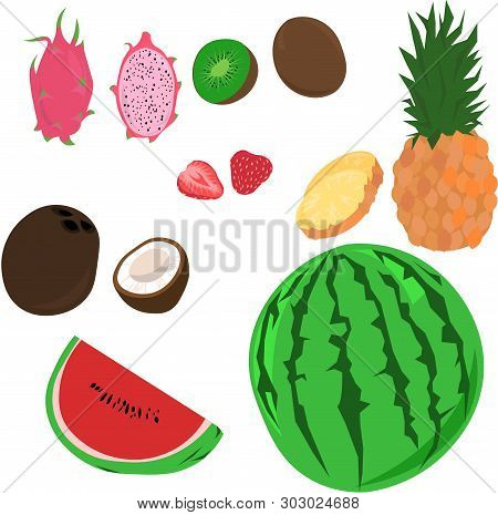 Set Of Vector Tropical Summer Fruits, Berries And Nuts. Whole And Sliced coconuts, Pitaya, Pineapp