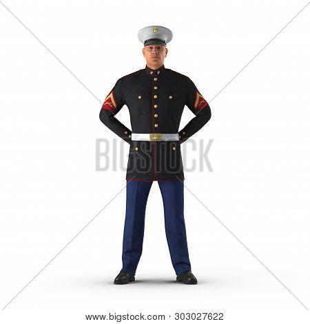 Us Marine Officer Wearing Parade Uniform On White Background Isolated 3d Illustration